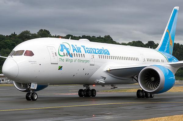 Air Tanzania Boeing 787-8 Dreamliner lands in D'Salaam