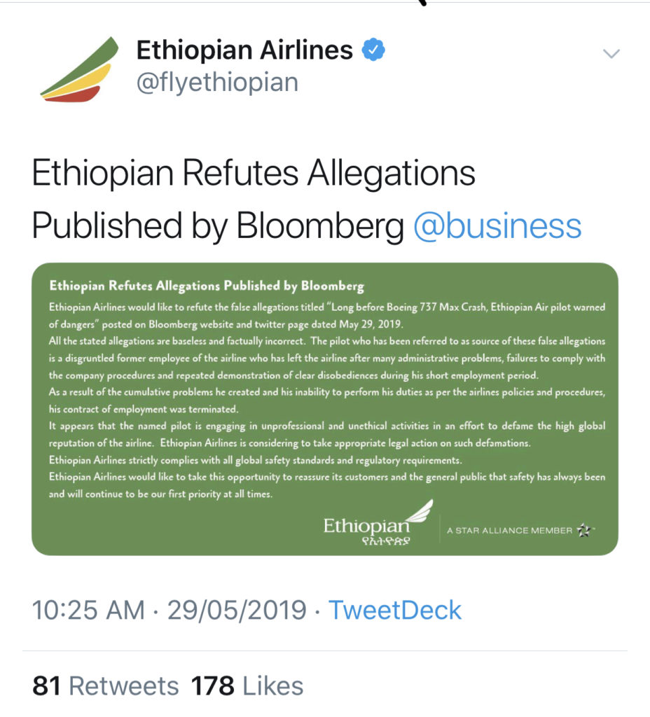 Ethiopian rubbishes Bloomberg Publication on ET302 crash