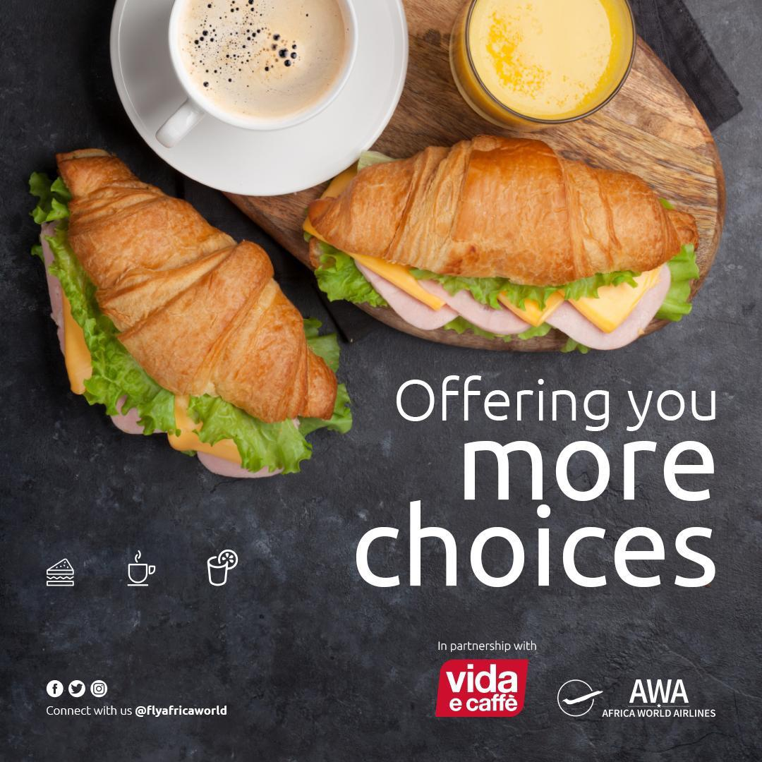 Africa World Airlines offer passengers more catering options