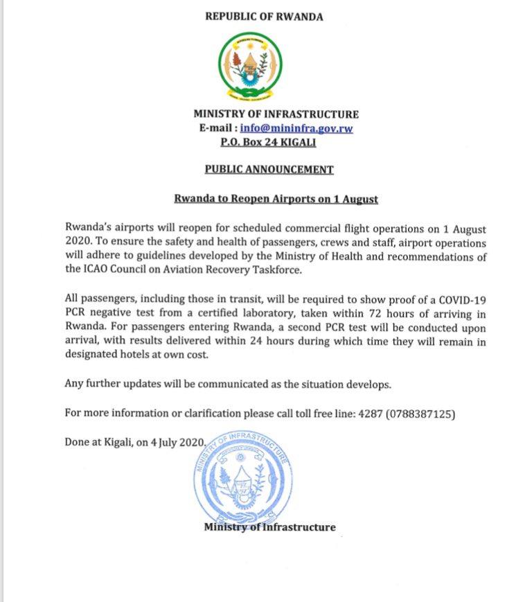 Passenger Flights To Rwanda Resume On August 1 Voyages Afriq